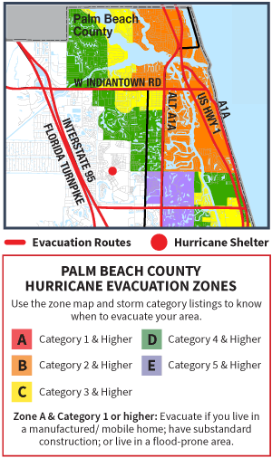 Graphic Map of evacuation zones and shelter for the Jupiter Area