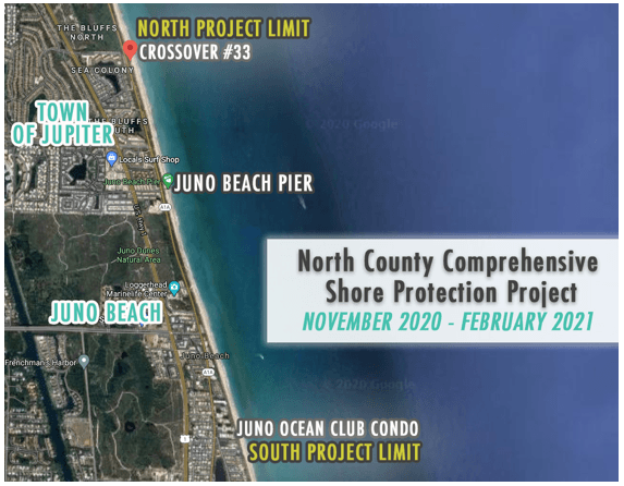 Aerial photo showing the shore protection project outline from crossover 33 to juno ocean club condo